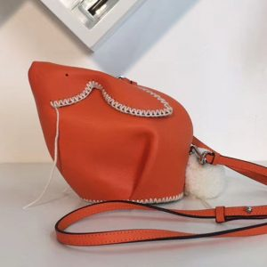 Replica Loewe Bunny Macrame Mini Leather Shoulder Bags Orange