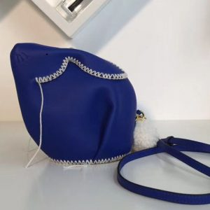 Replica Loewe Bunny Macrame Mini Leather Shoulder Bags Blue