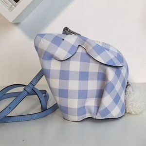 Replica Loewe Bunny Gingham Mini Leather Shoulder Bags Blue