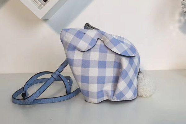 Replica Loewe Bunny Gingham Mini Leather Shoulder Bags Blue