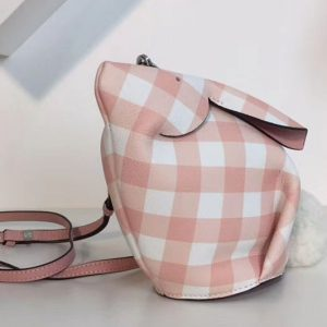 Replica Loewe Bunny Gingham Mini Leather Shoulder Bags Pink