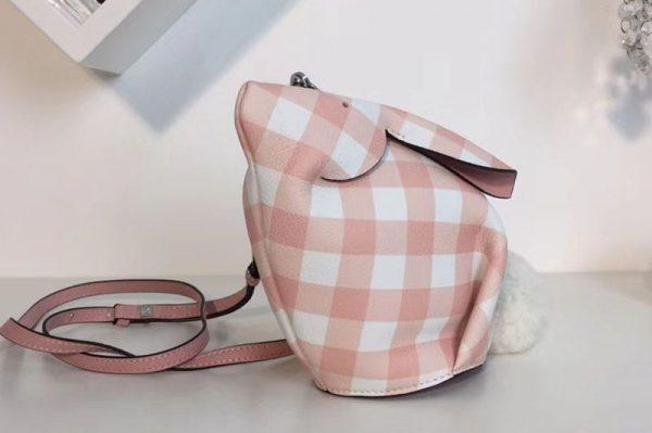 Replica Loewe Bunny Gingham Mini Leather Shoulder Bags Pink