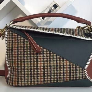 Replica Loewe Puzzle Tweed Bags Original Leather Green