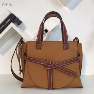 Replica Loewe Gate Top Handle Small Bags Original Leather Light Caramel/Pecan Color