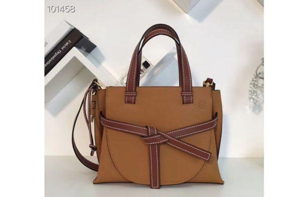 Replica Loewe Gate Top Handle Small Bags Original Leather Light Caramel/Pecan Color