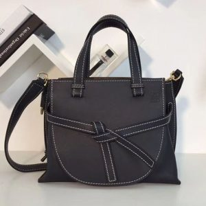 Replica Loewe Gate Top Handle Small Bags Original Leather Black