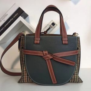 Replica Loewe Gate Top Handle Small Bags Original Leather Green