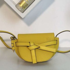 Replica Loewe Mini Gate Bags Original Leather Yellow