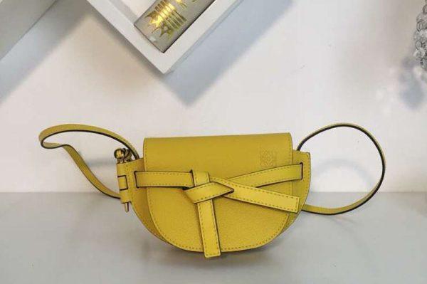 Replica Loewe Mini Gate Bags Original Leather Yellow