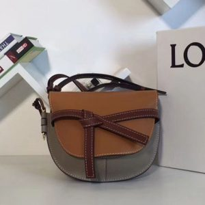 Replica Loewe Gate Small Bags Original Leather Amber/Light Grey/Rust Colour