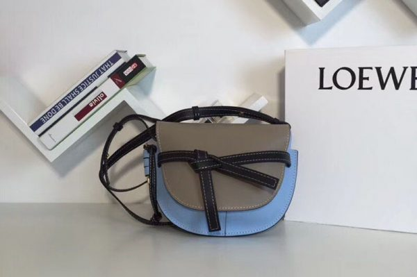 Replica Loewe Gate Small Bags Original Leather Grey/Blue