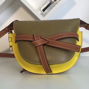 Replica Loewe Gate Small Bags Original Leather Leaf/Yellow