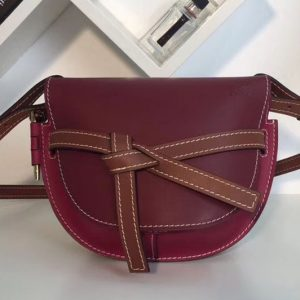 Replica Loewe Gate Small Bags Original Leather Wine/Raspberry