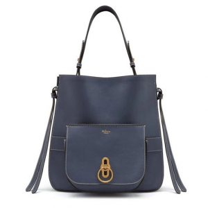 Replica Mulberry Amberley Hobo Bags Blue Silky Calf
