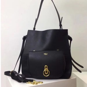 Replica Mulberry Amberley Hobo Bags Black Silky Calf