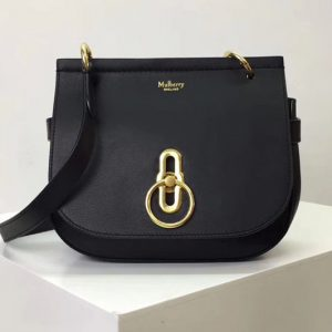 Replica Mulberry Amberley Satchel Bags Black Classic Grain Leather