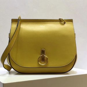 Replica Mulberry Amberley Satchel Bags Lemon Classic Grain Leather