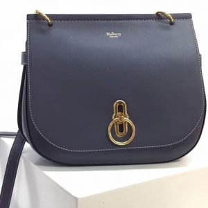 Replica Mulberry Amberley Satchel Bags Blue Classic Grain Leather