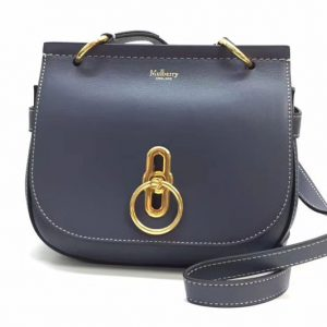 Replica Mulberry Mini Amberley Satchel Bags Blue Classic Grain Leather