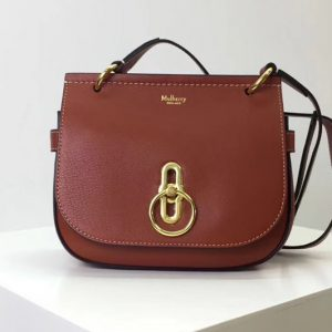 Replica Mulberry Amberley Satchel Bags Red Mini Classic Grain Leather