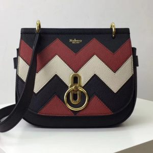 Replica Mulberry Amberley Satchel Bags Black, Rust & Chalk Zig Zag Small Classic Grain