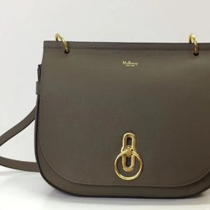 Replica Mulberry Amberley Satchel Bags Gray Classic Grain Leather