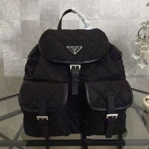 Replica Prada 1BZ811 Quilted fabric backpack Black
