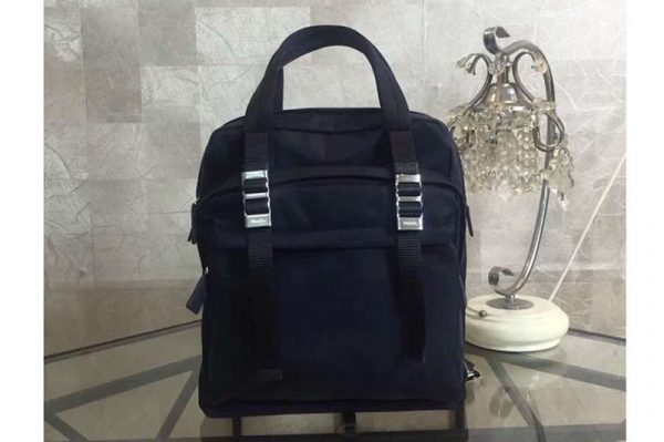 Replica Mens Prada 2VZ012 Nylon Backpack Bags Dark Blue