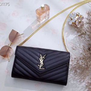 Replica YSL 377828 Saint Laurent Chain Wallet Black Matelasse Leather Gold Hardware