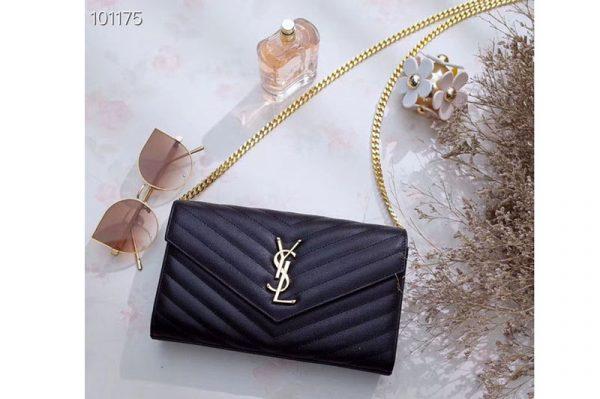 Replica YSL 377828 Saint Laurent Chain Wallet Black Matelasse Leather Gold Hardware