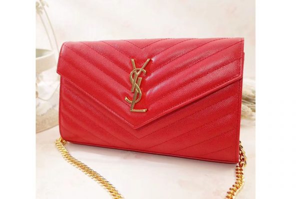 Replica YSL 377828 Saint Laurent Chain Wallet Red Matelasse Leather Gold Hardware