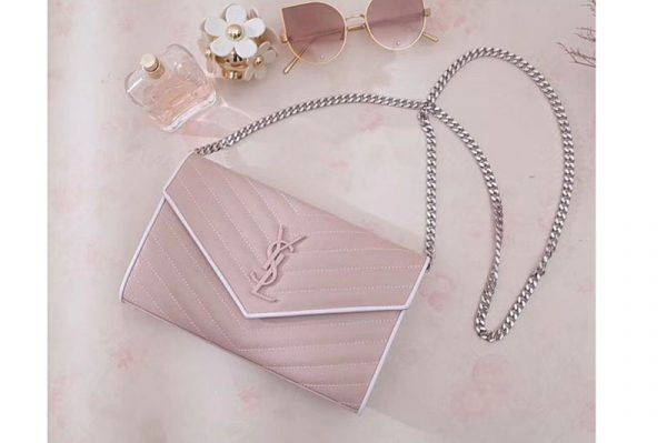 Replica YSL 377828 Saint Laurent Chain Wallet Pink Matelasse Leather