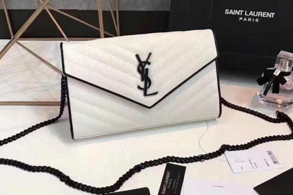 Replica YSL 377828 Saint Laurent Chain Wallet White Matelasse Leather