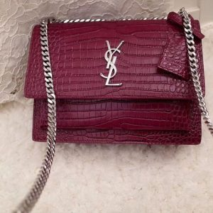 Replica YSL 442906 Saint Laurent Medium Sunset Monogram Bag Wine Crocodile Leather