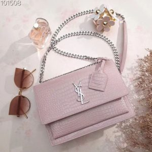 Replica YSL 442906 Saint Laurent Medium Sunset Monogram Bag Pink Crocodile Leather