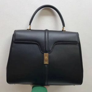 Replica Celine Medium/Small 16 Bag in satinated calfskin Leather Black