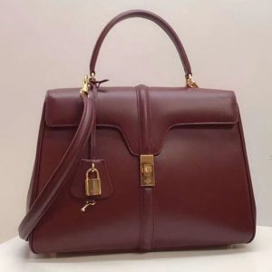 Replica Celine Medium/Small 16 Bag in satinated calfskin Leather Dark Red