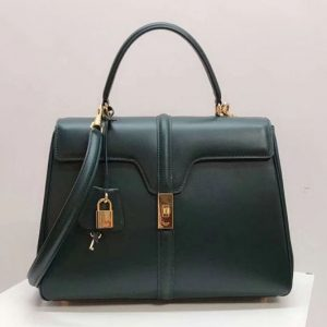 Replica Celine Medium/Small 16 Bag in satinated calfskin Leather Green
