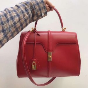 Replica Celine Medium/Small 16 Bag in satinated calfskin Leather Red