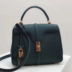 Replica Celine Medium/Small 16 Bag in Grained calfskin Leather Green
