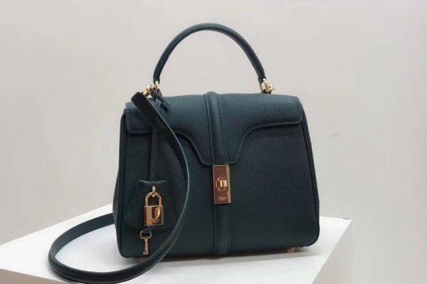 Replica Celine Medium/Small 16 Bag in Grained calfskin Leather Green