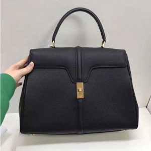 Replica Celine Medium/Small 16 Bag in Grained calfskin Leather Black
