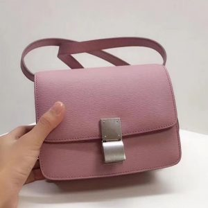 Replica Celine Small Classic Box Bag Original Calfskin Leather Pink