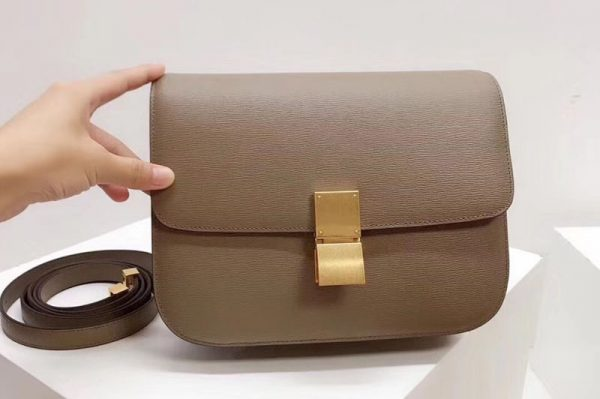 Replica Celine Medium Classic Box Bag Original Calfskin Leather Apricot