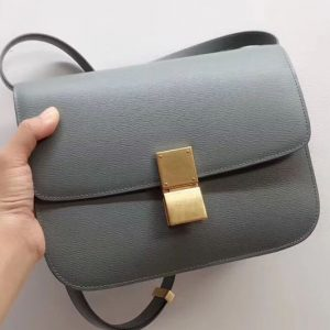 Replica Celine Medium Classic Box Bag Original Calfskin Leather Blue