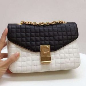 Replica Celine Quilted Calfskin Medium C Bag 187253 Black&White