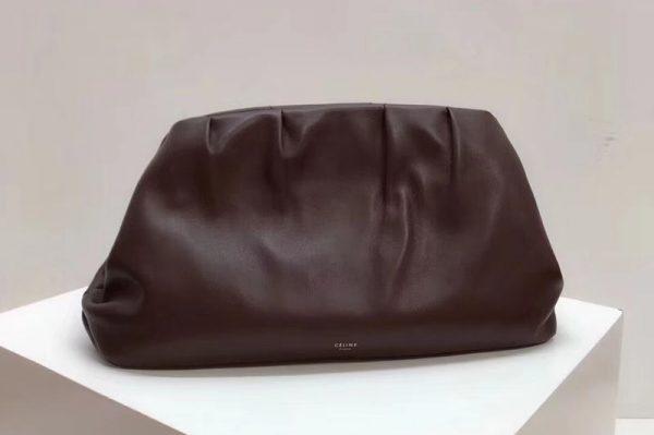 Replica Celine Clasp Clutch Bags Original Calfskin Leather Brown