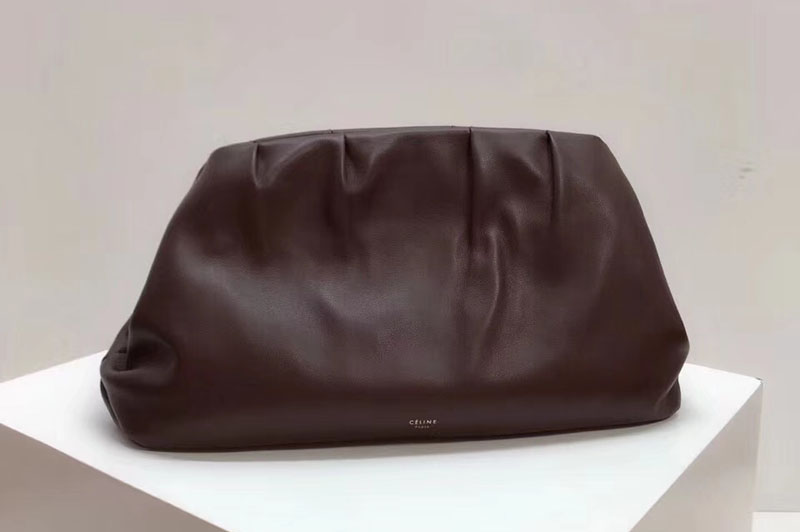 Celine Clasp Clutch Bags Original Calfskin Leather Brown