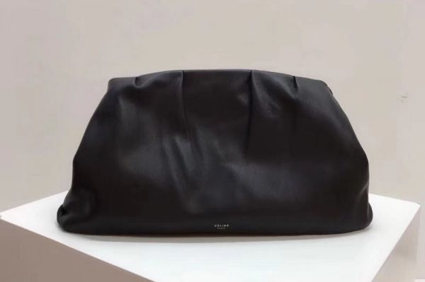 Replica Celine Clasp Clutch Bags Original Calfskin Leather Black
