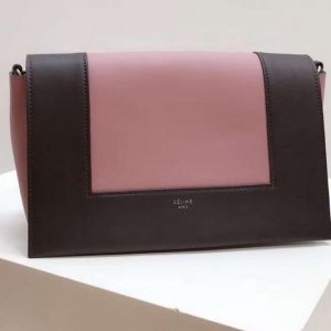 Replica Celine Medium Frame Shoulder Bag Smooth Calfskin Leather Coffee/Pink